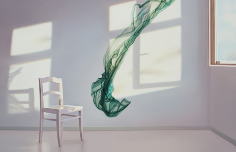 Edite Grinberga Room with green towel, 2017